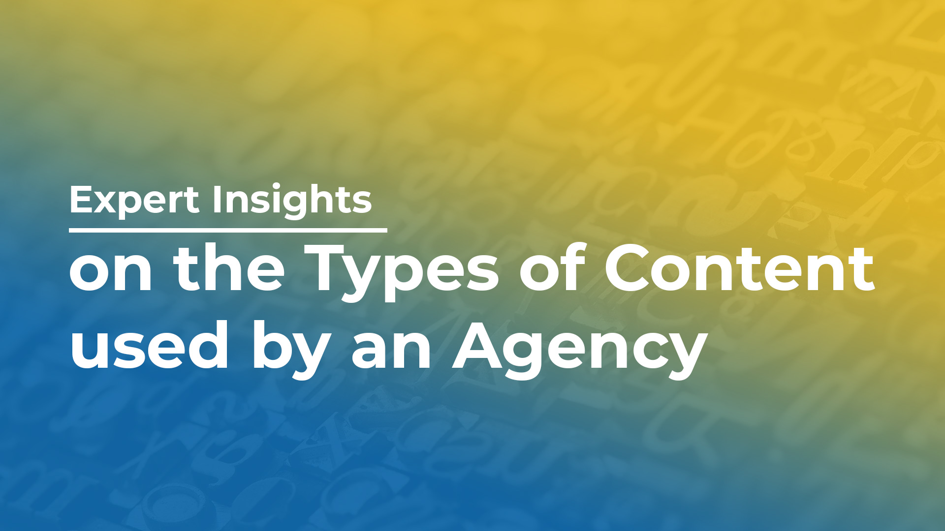 Expert Insights on the Types of Content used by an Agency