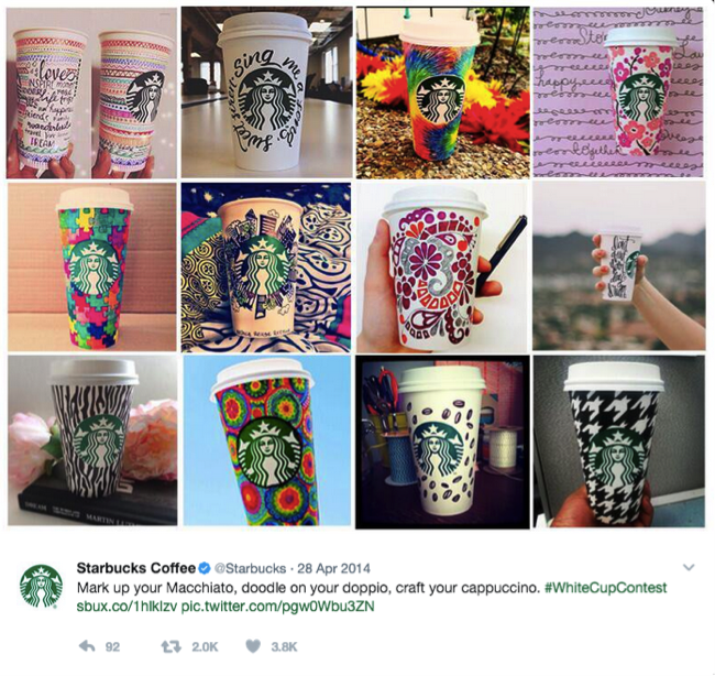 Starbucks white cup and red cup contests
